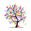 Abstract tree with ribbons for your design — Imagen vectorial