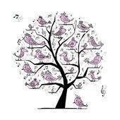 Curioso árbol con pájaros el cantar para su diseño — Vector de stock