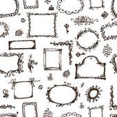 Nahtlose muster mit bilderrahmen für ihr design — Stockvektor
