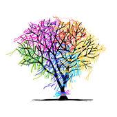 árbol abstracto con cintas para su diseño — Vector de stock