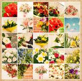 Sada 25 květinové obrázky na grunge starý papír — Stock fotografie