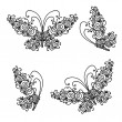 Set of ornamental butterflies for your design — Stock Vector