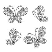 Set of ornamental butterflies for your design — Vetorial Stock