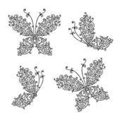 Set of ornamental butterflies for your design — Vector de stock
