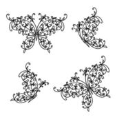 Set of ornamental butterflies for your design — Vecteur
