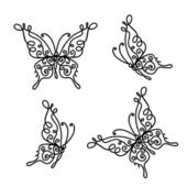 Set of ornamental butterflies for your design — Cтоковый вектор