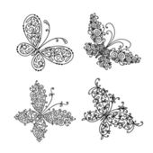Set of ornamental butterflies for your design — Stock vektor