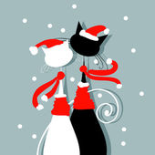 Christmas Eve. Couple of santa cats together — Stock Vector