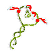 Couple of santa snakes, symbol of chinese new year 2013 — Vettoriale Stock