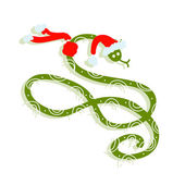 Snake in santa hat, symbol of chinese new year 2013 — Stock Vector