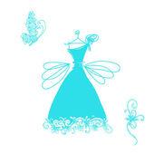 Tasarımınız için tatlı kokteyl elbisesi çizimi — Stok Vektör