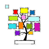 Art tree with frames, place for your text or photo — Stock Vector
