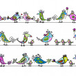 Funny birds, seamless pattern for your design - Imagens vectoriais em stock