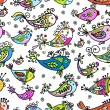 Stock Vector: Seamless pattern with funny fishes for your design