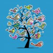 Royalty-Free Stock Immagine Vettoriale: Underwater tree with funny fishes for your design