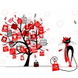Season sale tree, fashion cat with shopping bag for your design - Imagen vectorial