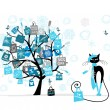 Christmas sale tree, fashion cat with shopping bag for your design - Imagen vectorial
