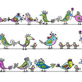 Funny birds, seamless pattern for your design — Stok Vektör