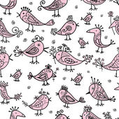 Funny birds, seamless pattern for your design — Stock Vector