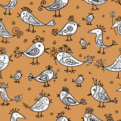 Funny birds, seamless pattern for your design — Stock vektor