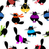 Fashion cats, seamless pattern for your design — Stock Vector