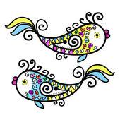 Bosquejo de divertidos peces para su diseño — Vector de stock