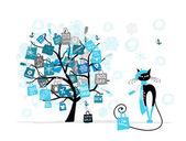 árbol de navidad venta, moda gato con bolsa para su diseño — Vector de stock