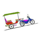 Motorcykel trailer, taxi i asiatiska städer — Stockvektor
