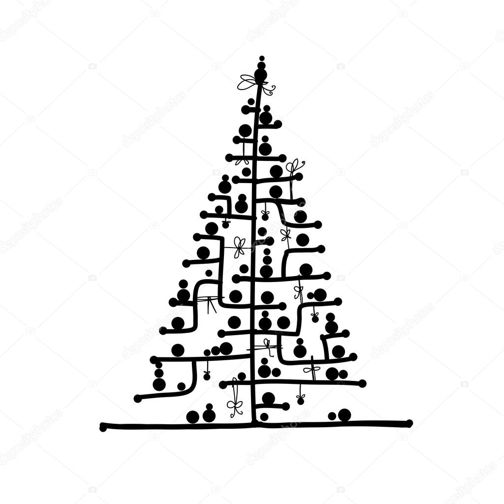 Stock Illustration Abstract Christmas Tree For Your on Snow 1 3 Inches