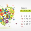 Vector calendar 2013, march. Art heart design — Stock Vector #16862325
