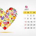 Vector calendar 2013, july. Art heart design — Stock Vector