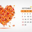 Vector calendar 2013, september. Art heart design — Stock Vector