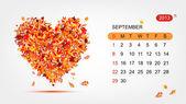 Vector calendar 2013, september. Art heart design — Stock Vector