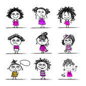 Cute girls, sketch for your design — Stock Vector