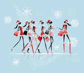 Christmas shopping, santa girls with bags — Stock Vector