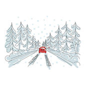Red car on winter road, sketch for your design — Stock Vector