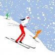People skiing, winter mountain landscape for your design - Векторная иллюстрация