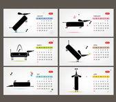 Vector calendar 2013. Funny dogs for each month — Stock Vector