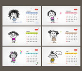 Vector calendar 2013. Funny girls for each month — Stock Vector