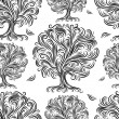 Seamless pattern with art trees for your design — Stok Vektör