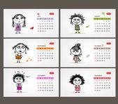 Vector calendar 2013. Funny girls for each month — Stock Vector