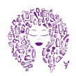Royalty-Free Stock Vector Image: Cosmetic concept, female accessories on woman head for your design