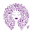 Royalty-Free Stock Imagen vectorial: Cosmetic concept, female accessories on woman head for your design