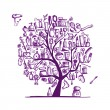 Royalty-Free Stock Vectorielle: Cosmetics and female accessories on tree for your design