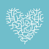 Heart made of corals, sketch for your design — Stock Vector