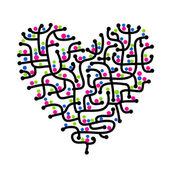 Labirinto de amor, em forma de coração para seu projeto — Vetor de Stock