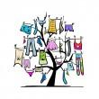 Wardrobe, clothes on tree for your design — Stock Vector #25197711
