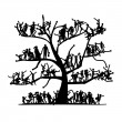 Tree of people, sketch for your design - Stock Vector