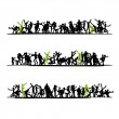 Sketch of crowd for your design — Stock Vector #25197849