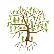 Family tree, relatives, people silhouettes - Stock Vector